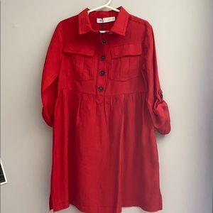 Girls Zara red button front dress 6